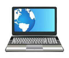 Ordenador portátil con medio globo terráqueo en pantalla vector
