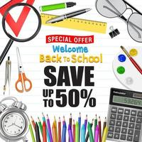 back to school sale promotion poster vector