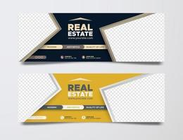 Real Estate social media cover template vector