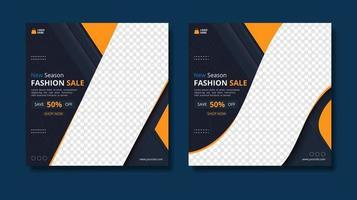 Fashion sale promo square banner templates vector