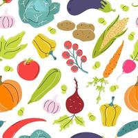Raw vegetables, cabbage, carrots, tomatoes, beets on a white background. Vector seamless pattern in flat style