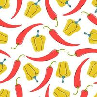 Yellow and red peppers on a white background. Vector seamless pattern flat style