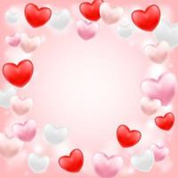 pink red white hearts floating on a pink background vector