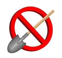 no digging shovel prohibition sign vector