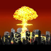 nuclear bomb exploding over ruined city building vector
