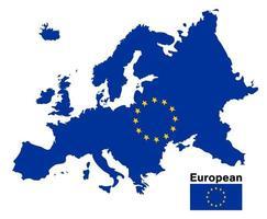 Mapa de la bandera europea sobre un fondo blanco. vector