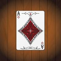 Ace of diamonds, poker card varnished wood background vector