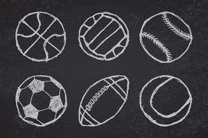 Ball sketch set simple outlined on blackboard vector