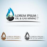 Conjunto de colores de plantilla de diseño de logotipo de vector de empresa de gas de petróleo. Gota de aceite de fuego con montañas icono de concepto de símbolo abstracto.