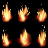 fire flame set on black background vector