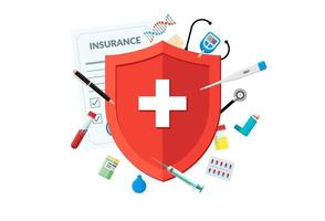 Medical insurance or immune system concept. Red shield on patient protection policy with medicine pharmacy drugs and preparations. Vector immunity symbol illustration