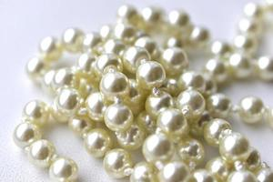 White pearl necklace beads on white background photo