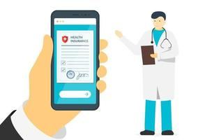 Patient hand holding smartphone with health insurance policy form and male doctor. Online signs agreement protection document on mobile screen. Make deal medicine compensation legal vector contract