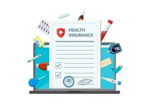Health insurance policy with medical supplies medicine drugs pills tablets on laptop screen. Online healthcare service and pharmacy medications concept modern flat design concept vector illustration