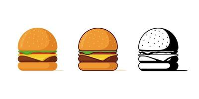 Burger fast food meal isolated set. Hamburger with tomato bow greens juicy fried beef cutlet cheese slice in bun with sauce. Cheeseburger fastfood colorful and black symbol vector illustration