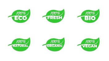 100 percent certified quality eco fresh bio natural organic vegan grean leaf product badge collection. Vector healthy ecology plant label set isolated eps illustration