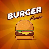 Burger house fast food meal advertising poster with rays and lettering inscription. Delicious hamburger or cheeseburger promotional banner design template. Vector illustration for restaurant menu