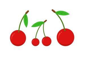 conjunto de iconos planos de cereza. Ilustración de vector aislado de baya roja natural dulce fresca