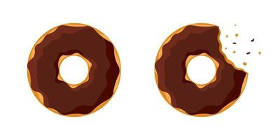 Cartoon colorful tasty donut whole and bitten set isolated on white background. Chocolate glazed doughnut top view for cake cafe decoration or menu design. Vector flat eps illustration