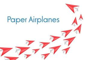 Red Paper airplanes vector