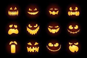 Halloween monster jack lantern calabaza tallada brillante cara aterradora en fondo blanco. colección de personajes de dibujos animados de vacaciones para el diseño de celebración. vector de dibujos animados espeluznante ilustración