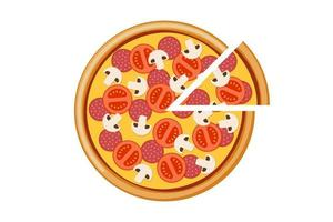 Pizza with tomato mushroom salami and cheese slices. Italian fast food meal isolated flat vector eps illustration