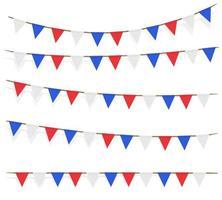 Decoraciones de bandera blanca azul roja sobre fondo blanco. vector