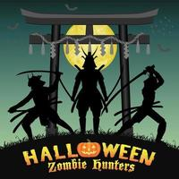 samurai zombie hunter with japan style temple gate vector