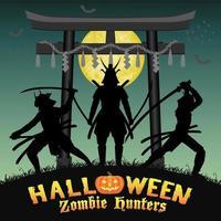 cazador de zombies samuráis con puerta de templo de estilo japonés vector