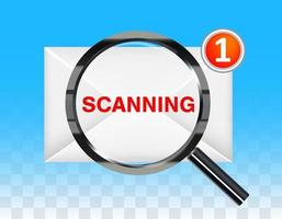 lupa negra escaneando un nuevo sobre de correo electrónico vector