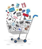 carrito de compras con artículos flotando. vector