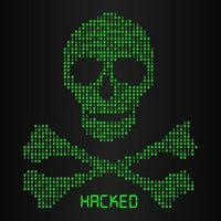 Código binario digital en icono de peligro de cráneo y huesos vector