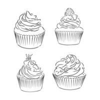 lindo conjunto de cupcakes aislado sobre fondo blanco. ilustración vectorial vector
