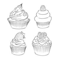Cute cupcakes set isolated on White background. Vector illustration. cupcake vector sketch on a white background