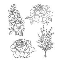 Hermoso ramo de lirio blanco y negro monocromo aislado sobre fondo. dibujado a mano. Diseño de tarjeta de felicitación e invitación de la boda, cumpleaños, dibujo vectorial de composición floral sobre un fondo blanco. vector