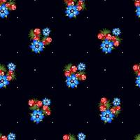 Seamless pattern of berries, flowers . Hand drawn floral ornament. Design for textile, paper, packaging, bedding from colorful doodle elements in folk style. flowers and berries in a rustic style vector