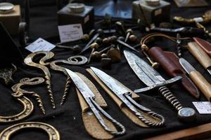 Forged knives and ornamental metal products photo