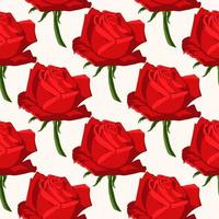 Seamless floral pattern with red roses vector