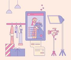 Fashion studio with camera and lights. Social media mobile screen of a girl. flat design style minimal vector illustration.