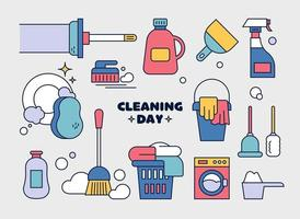 Collection of cleaning tools. outline simple vector illustration.