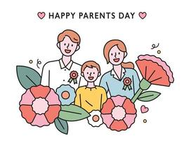 Families with a happy smile. Flowers sprouted around. flat design style minimal vector illustration.