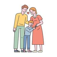 The son is hugging the pregnant mother's belly, and the dad and mother are smiling happily. flat design style minimal vector illustration.