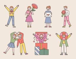 personas con flores y regalos para celebrar el aniversario. Ilustración de vector mínimo de estilo de diseño plano.