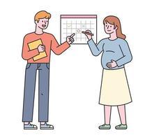 papá y mamá están marcando la fecha de vencimiento en el calendario. Ilustración de vector mínimo de estilo de diseño plano.