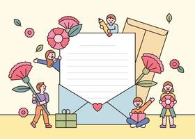 There are large stationery and cute people holding flowers around. flat design style minimal vector illustration.