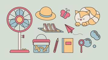 Items of memories of summer vacation as a child. outline simple vector illustration.