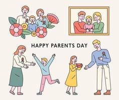 niños celebrando el día de los padres. Ilustración de vector mínimo de estilo de diseño plano.
