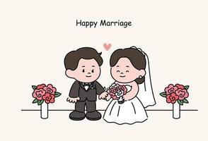 Personajes de pareja de novios en vestidos de novia. ilustraciones de diseño de vectores de estilo dibujado a mano.