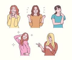 Girls of various gestures. hand drawn style vector design illustrations.
