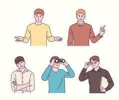 Boys of various gestures. hand drawn style vector design illustrations.